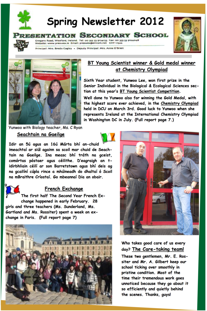 Newsletters – Presentation Secondary School