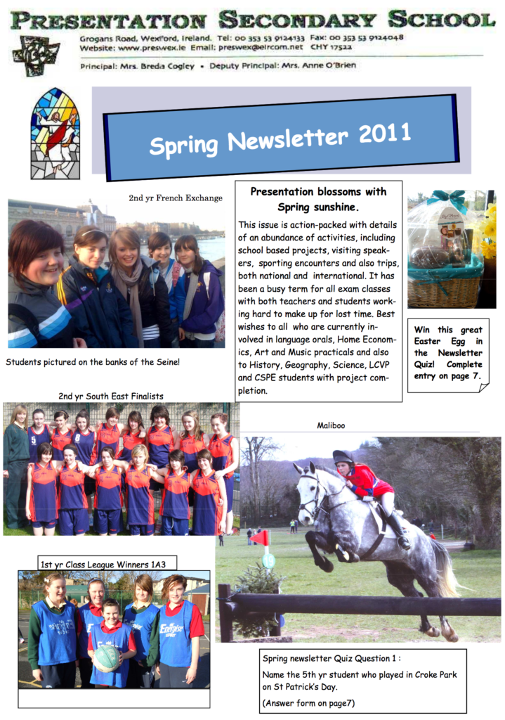 Newsletters – Presentation Secondary School